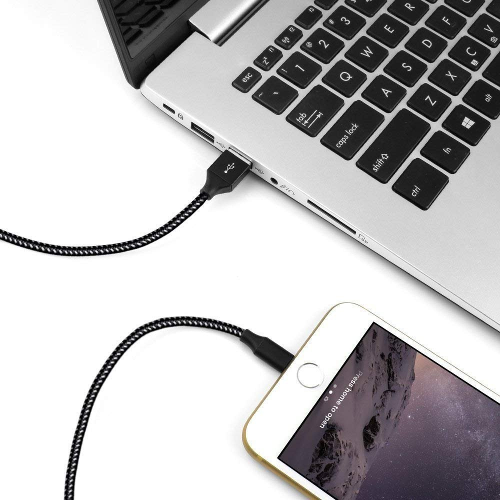 Loopilops Compatible iPhone,Lightning Cables [4-Packs] 3FT 6FT 6FT 10FT Syncing Data and Nylon Braided Cord Charger iPhone X/8/8Plus/7/7Plus/6/6Plus/6s/6sPlus/5/5s/5c/SE and More (Black&White) by Loopilops (Image #6)