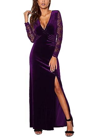 Meenew Women s Velvet Long Evening Dress Plunging V Neck Cocktail Dress  Purple S dd4618850