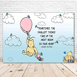 Winnie The Pooh Baby Shower Backdrop for Girl 7x5 Pink Balloon Butterfly Happy Birthday Pooh Bear Background 1st Birthday Vinyl Winnie The Pooh Posters with Quotes for Wall Decorations