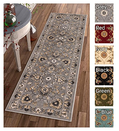 Cheap Sultan Sarouk Grey Oriental Area Rug Persian Formal Traditional Area Rug 2′ x 7′ Runner Easy Clean Stain Fade Resistant Shed Free Modern Classic Contemporary Thick Soft Plush Living Dining Room Rug