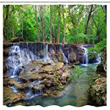 nature shower curtains  Waterfall Shower Curtain, Waterfall Stream Flowing Over Rocks in Forest Woodland Nature Scenery Print,Summer Waterproof Fabric Bathroom Shower Curtain with Hooks,Green White,72x 72 inch