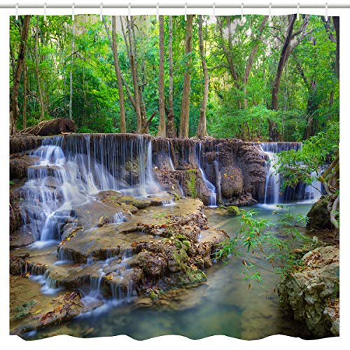 Waterfall Shower Curtain, Waterfall Stream Flowing Over Rocks in Forest Woodland Nature Scenery Print,Summer Waterproof Fabric Bathroom Shower Curtain with Hooks,Green White,72x 72 inch