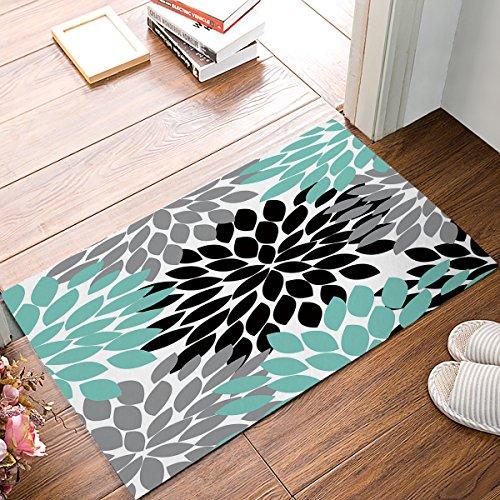 Doormat Non Slip Indoor/Outdoor/Front Door/Bathroom Entrance Mats Rugs Carpet,Dahlia Flower,Teal Black Grey]()