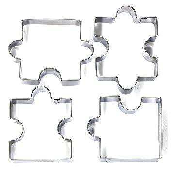 Kebinfen 4 Piezas Rompecabezas en forma de cortador de la galleta de la galleta de la hornada Cortadores herramientas del molde: Amazon.es: Hogar