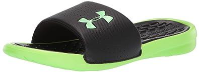 b98ddd8a95a5d8 Under Armour Men's Playmaker Fixed Strap Slide Sandal, Black (004)/Lime  Light