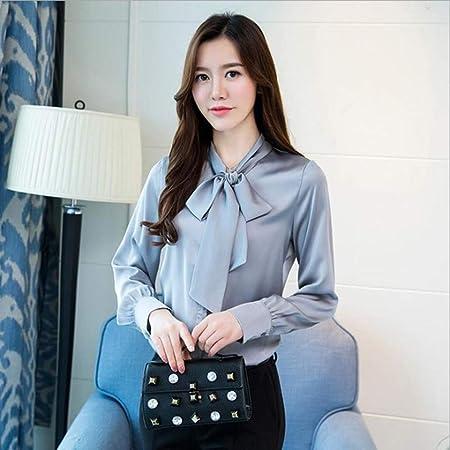 NSSYL Tops de Mujer Spring Long Tie Satin Camisas Mujer Ropa de Trabajo Blusas de Oficina Damas, XXL: Amazon.es: Hogar