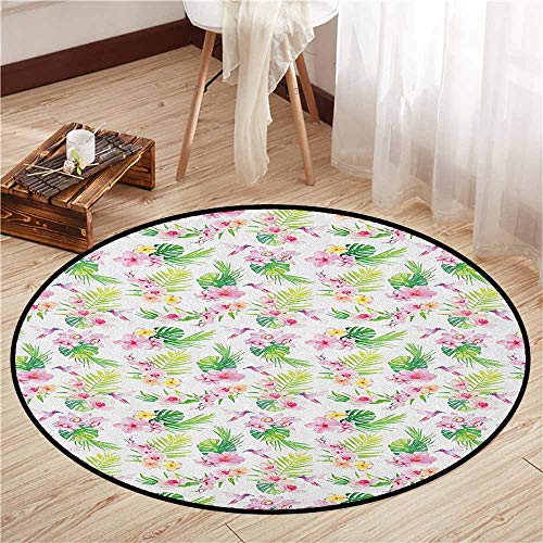 Skid-Resistant Rugs,Luau,Hawaiian Flower Branches with Exotic Giant Leaves and Birds Botany Print,Children Bedroom Rugs,3'3