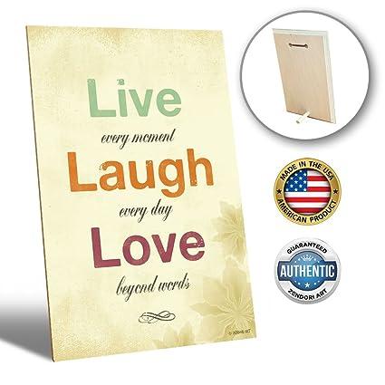 Amazon Desk Decor By ZENDORI ART Live Laugh Love Desk Plaque Best Decorative Inspirational Signs