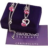 Parure donna argento 925 Swarovski originale G4Love collana e orecchini a forma di cuore con cristalli e strass regalo Compleanno San Valentino (Rosa)