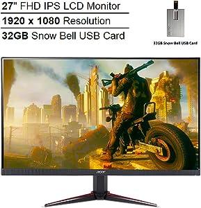 "2020 Acer 27"" 144Hz Nitro VG0 FHD IPS LCD Monitor, AMD FreeSync, 1920x1080 Resolution, Aspect Ratio 16:9, 16.7 Million Colors Support, DisplayPort & HDMI & VGA, 1ms, Black, 32GB Snow Bell USB Card"
