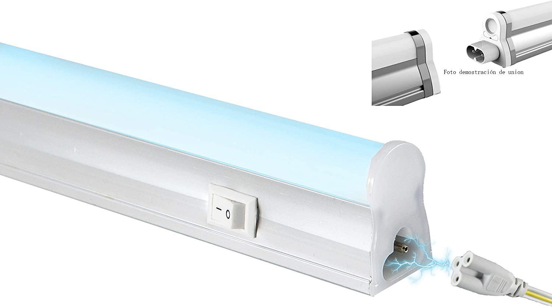 POPP®Regletas Tubo LED T5 Alumino+Pc Conexión Dos Laterales 5W,9W,12W,18W Blanco Frío 4000K 6000K fluorecente cocinas,armarios,trastero[Clase de eficiencia energética A] (6000K, 5 WATIOS)