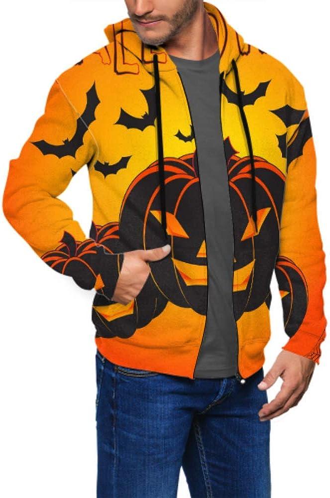GUJGK Long Sleeve Hoodie Print Halloween Jacket Zipper Coat Fashion Mens Sweatshirt Full-Zip S-3xl