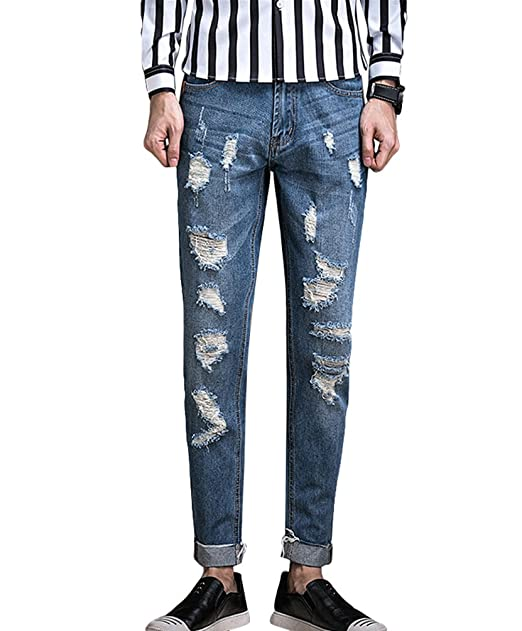 Xinwcang Pantalones Vaqueros Rotos Biker Jeans de Hombre ...