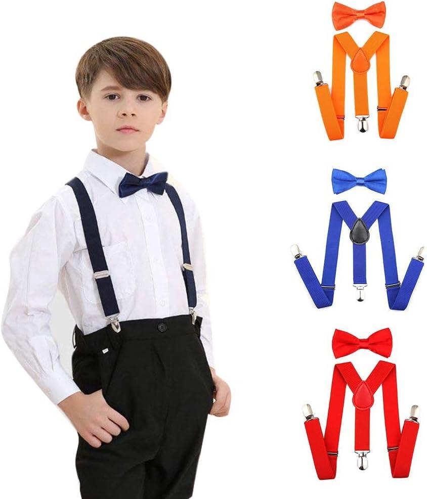 Set of Kids Adjustable Boys Suspenders and Zipper Tie