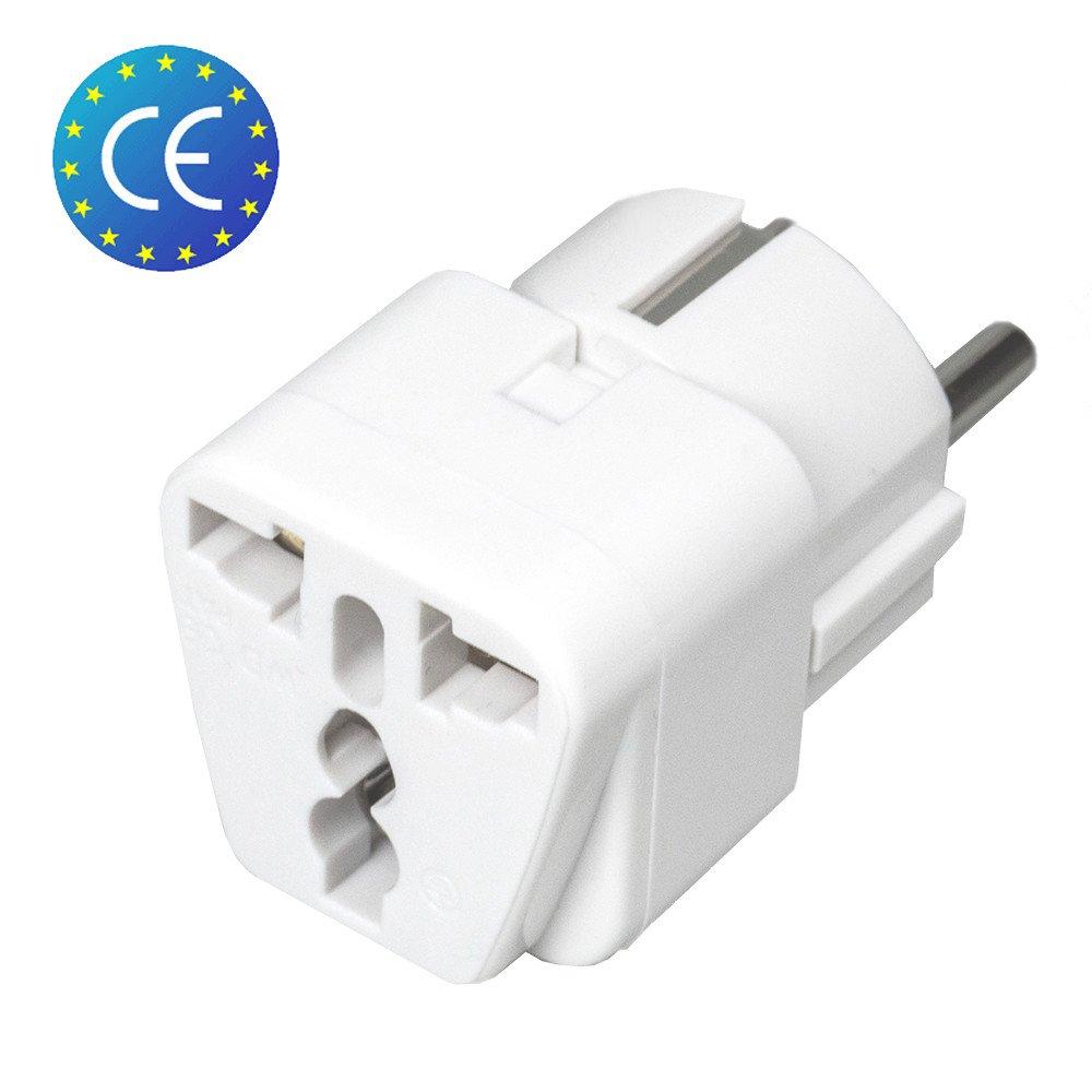 Adaptateur universel secteur US / UK / Chine vers Europe (EU) / France (FR) - Prise électrique avec terre - Normes CE RoHS - 16A - Blanc Boxin