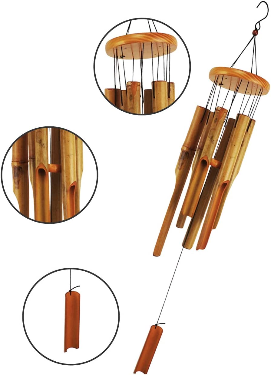 MUMTOP Bamboo Wind Chime Outdoor Wooden Music Wind Chimes for Garden, Patio, Home or Outdoor Decor : Garden & Outdoor