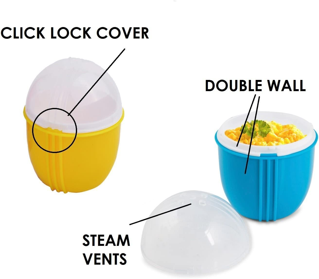 4 Pack Effortless Breakfast Microwavable Egg Maker/Poacher Zap ...