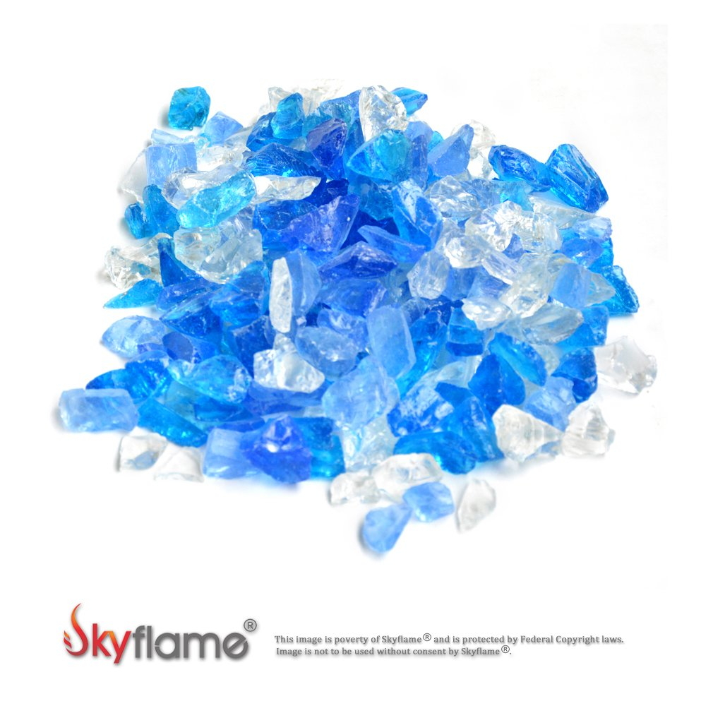 Skyflame 10-Pound Recycled Fire Glass for Fire Pit/Fireplace/Vase Fillers/Garden Landscapes, Blend Fireglass
