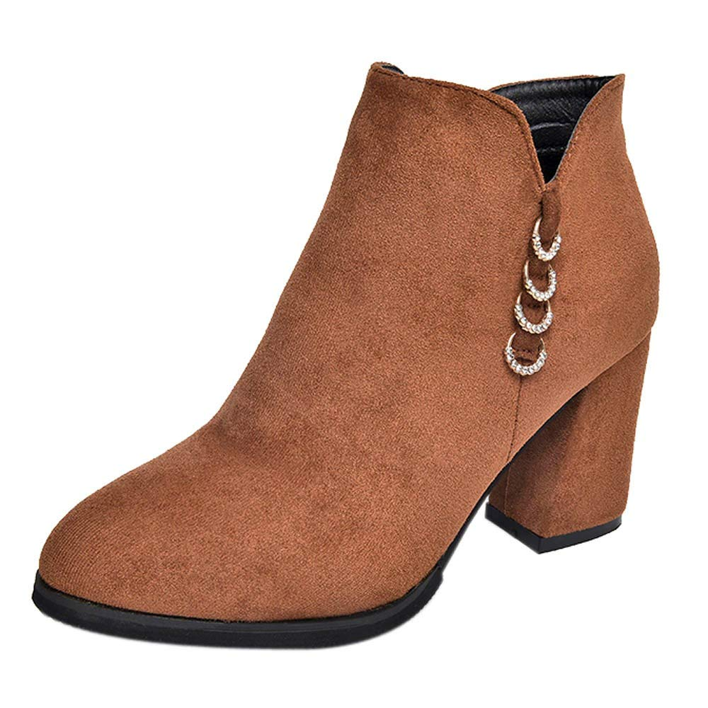 Botines De Ante para Mujer De Moda OHQ Botas Martin De TacóN Alto Botas Individuales: Amazon.es: Zapatos y complementos