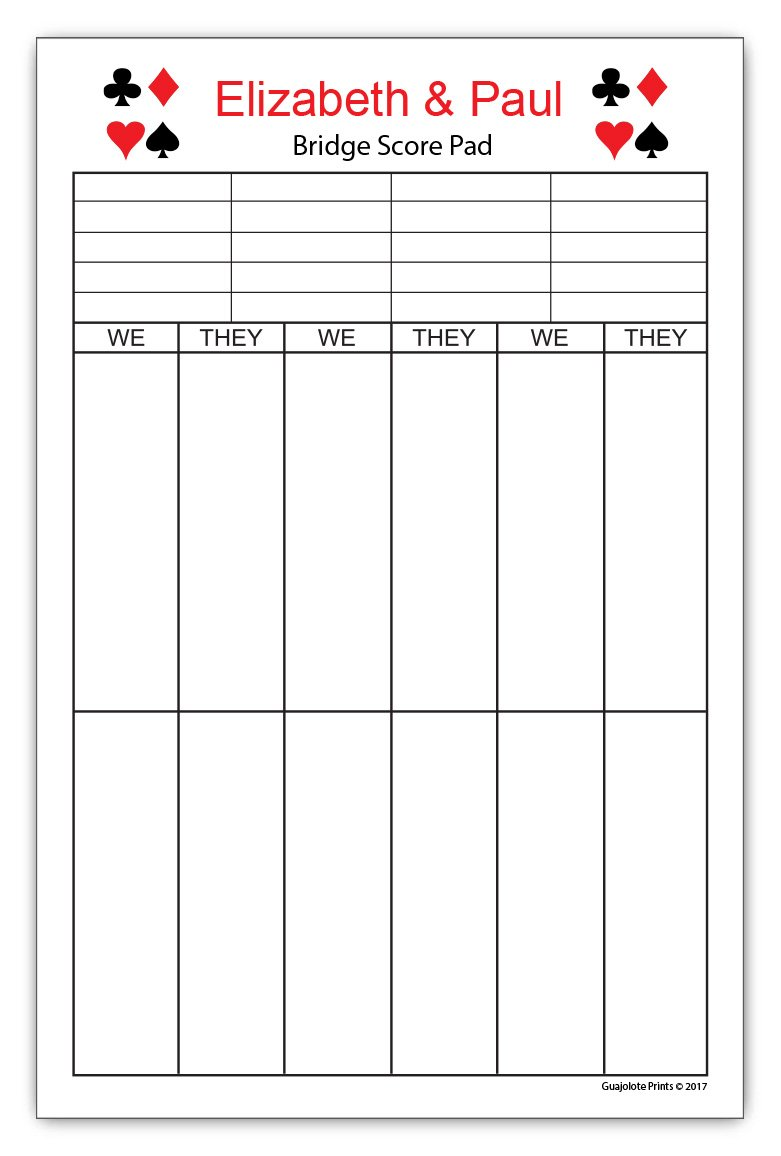 graphic relating to Printable Bridge Tallies known as Custom-made Bridge Rating Pad - 5.5 x 8.5 inch, 50 Sheets Notepad Tally