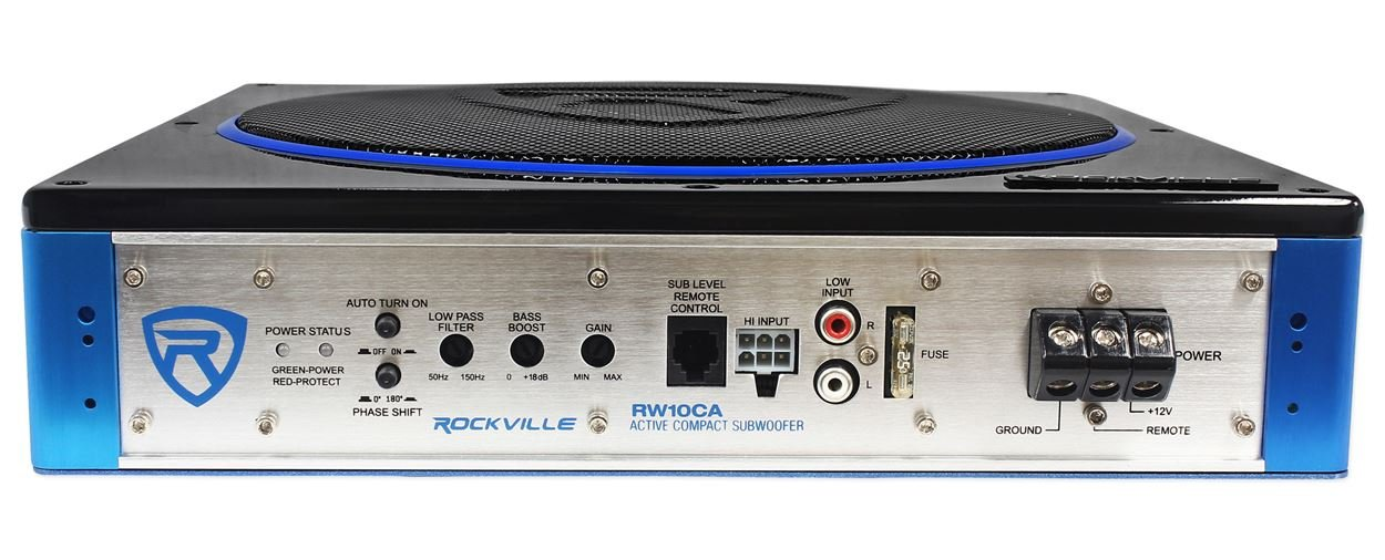 Rockville RW10CA 10'' 800 Watt Under-Seat Slim Amplified Car Subwoofer +Wire Kit by Rockville (Image #2)