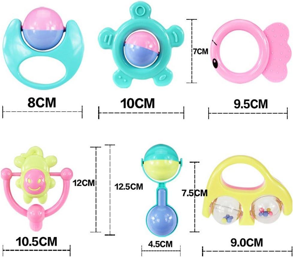 RUNFUN 6Pcs Jouets Hochets B/éb/é Jouets de Dentition Cloche Hochet Jouet pour Infant Nouveau-N/é Fille Gar/çon Couleurs de Bonbons