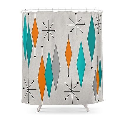 Society6 Mid Century Modern Diamond Pattern Shower Curtain 71quot