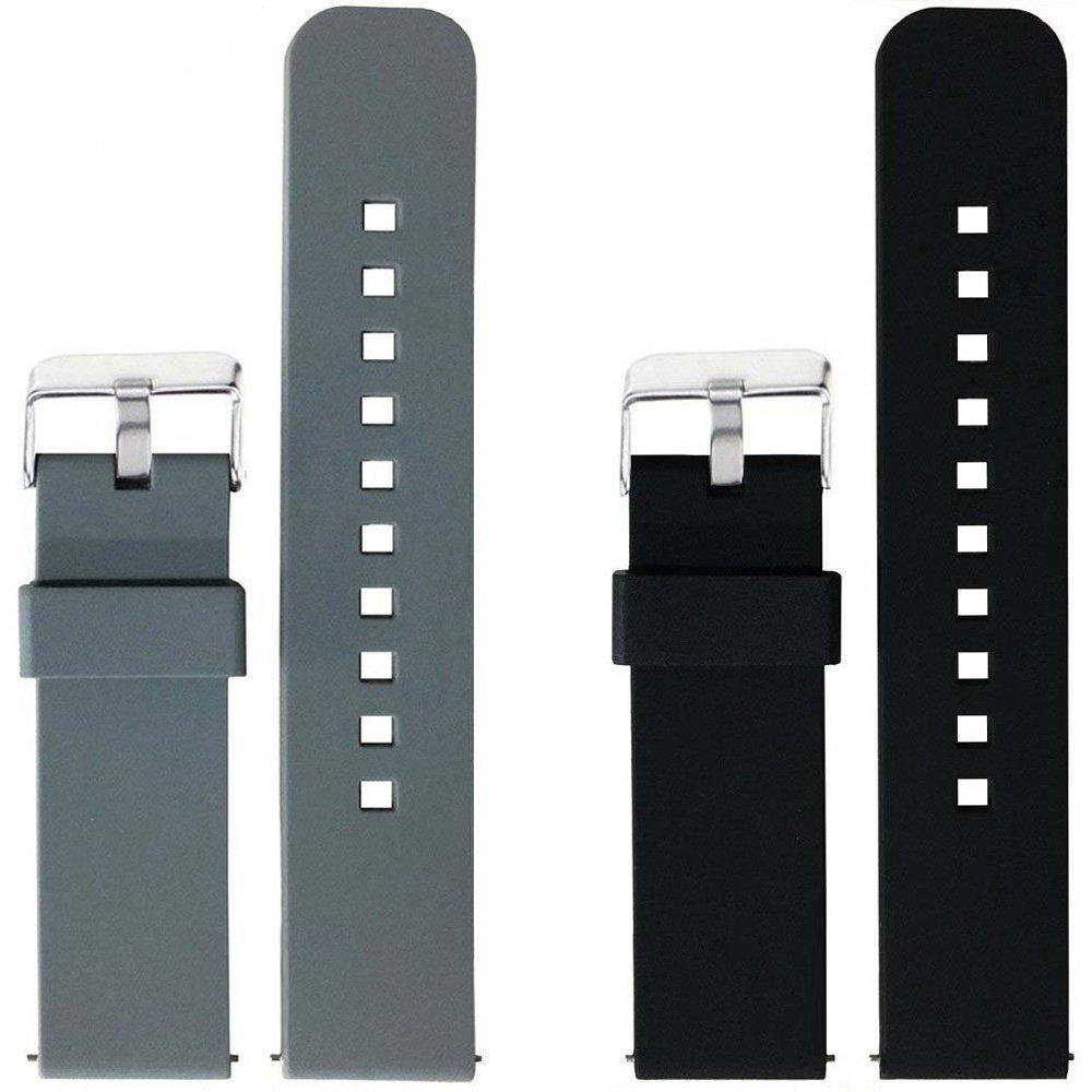 2pcs交換用シリコンバンドLG G Watchのみ Gray+Black Gray+Black B074H5CVF8