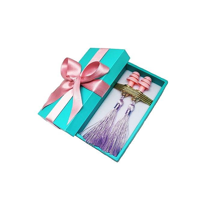 Tapones para los oídos con borla en caja de regalo Desayuno en seda de Tiffany hechos