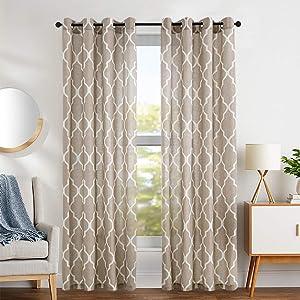 Print Curtains 95 inch Moroccan Tile Flax Linen Look Curtain Quatrefoil Grommet Lattice Window Treatment Set for Living Room - (Taupe, Set of 2 Panels)