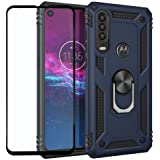 FaDream for Moto One Action/P40 Power Case,Rugged Hybrid Armor Shockproof Dual Layer Protective Cover[with 360 ° Kickstand] [Magnetic Car Mount] with Tempered Glass Screen Protector(Blue)