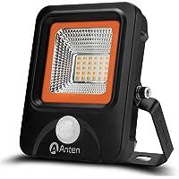 Anten 20W Projecteur LED Détecteur de Mouvement Spot Éclairage LED PIR Sensor Extérieur IP65 avec Détecteur Lampe de Sécurité Blanc Chaud 3000K (Boîte de Jonction Fournie)
