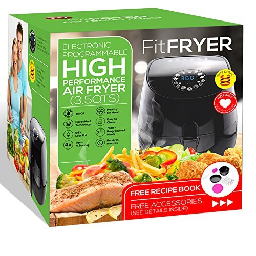 FitFryer Electric Hot Air Fryer, Healthy Oil Free Multi-Purpose Air fryer, 3.5 Qt Removable Dishwasher Safe Basket, Rapid Cook Technology- 70% OFF
