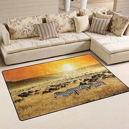 WOZO Sunset African Landscape Zebra Area Rug Rugs Non-Slip Floor Mat Doormats for Living Room Bedroom 60 x 39 inches