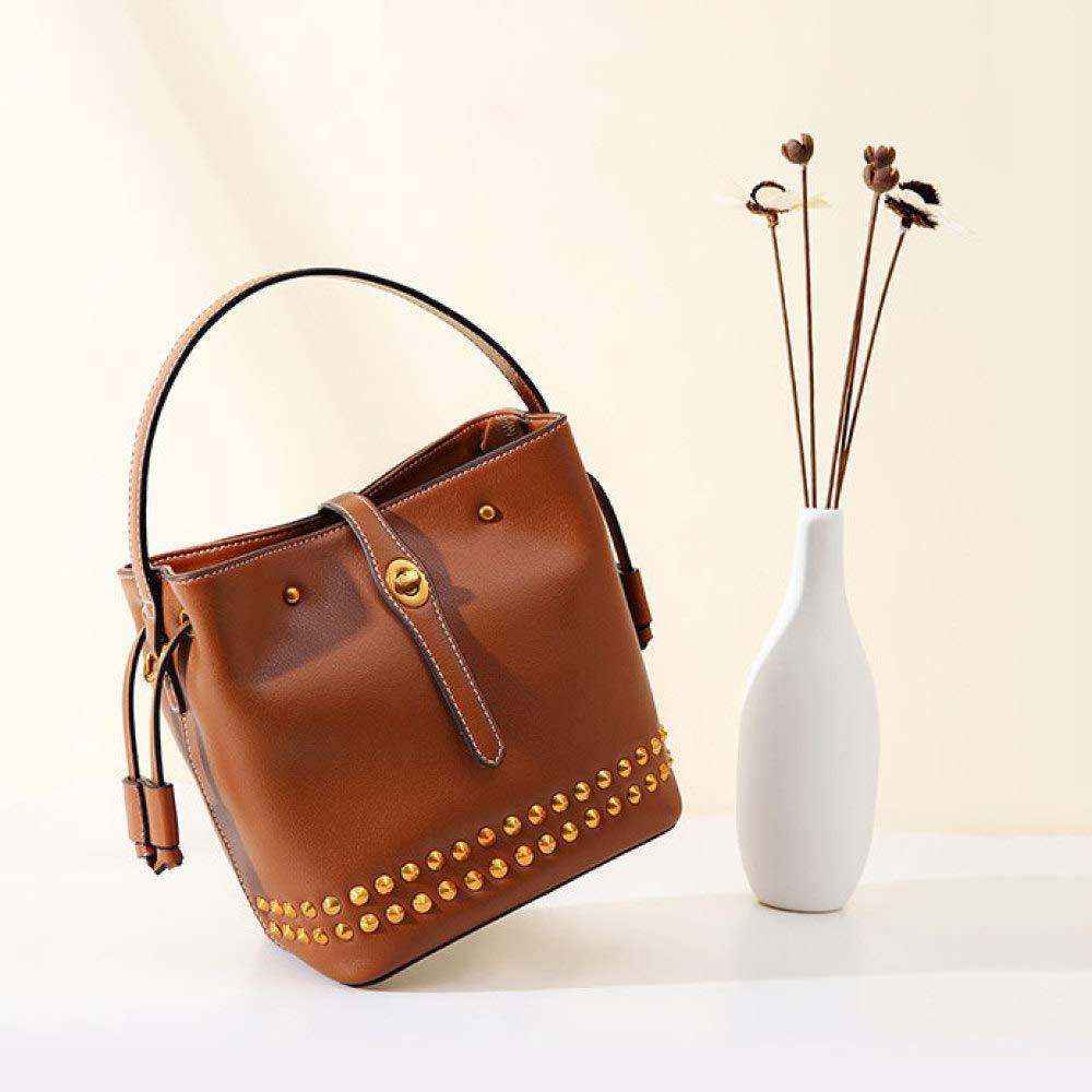 6dd9da21e72e3 ... Retro Rivet Bucket Bag Einfache Trend Single Shoulder Diagonal Diagonal  Diagonal Tasche Casual Wild Handtasche Damen ...