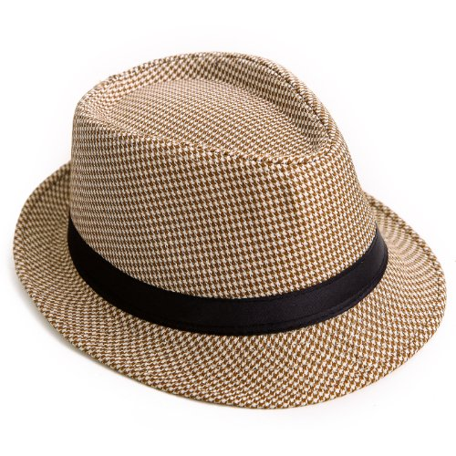 HDE Unisex Pattern Stingy Short Brim Gangster Cuban Style Fedora Hat Cap (Tan Houndstooth)