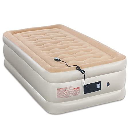 Tuomico 80x30x19 Twin Air Mattress Built in Remote Control Pump Double Airbed Quickly Blow UP Inflatable Air Beds 2-Year Guarantee