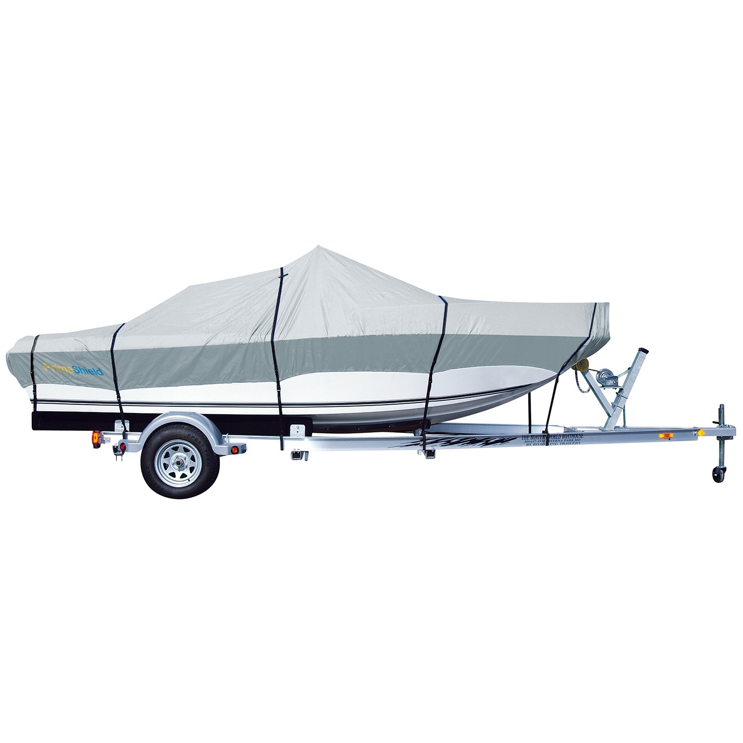 PrimeShield Heavy Duty Boat Cover 600D Waterproof for V-Hull Runabouts 16' - 18.5' Length up to 98'' Width Grey by PrimeShield