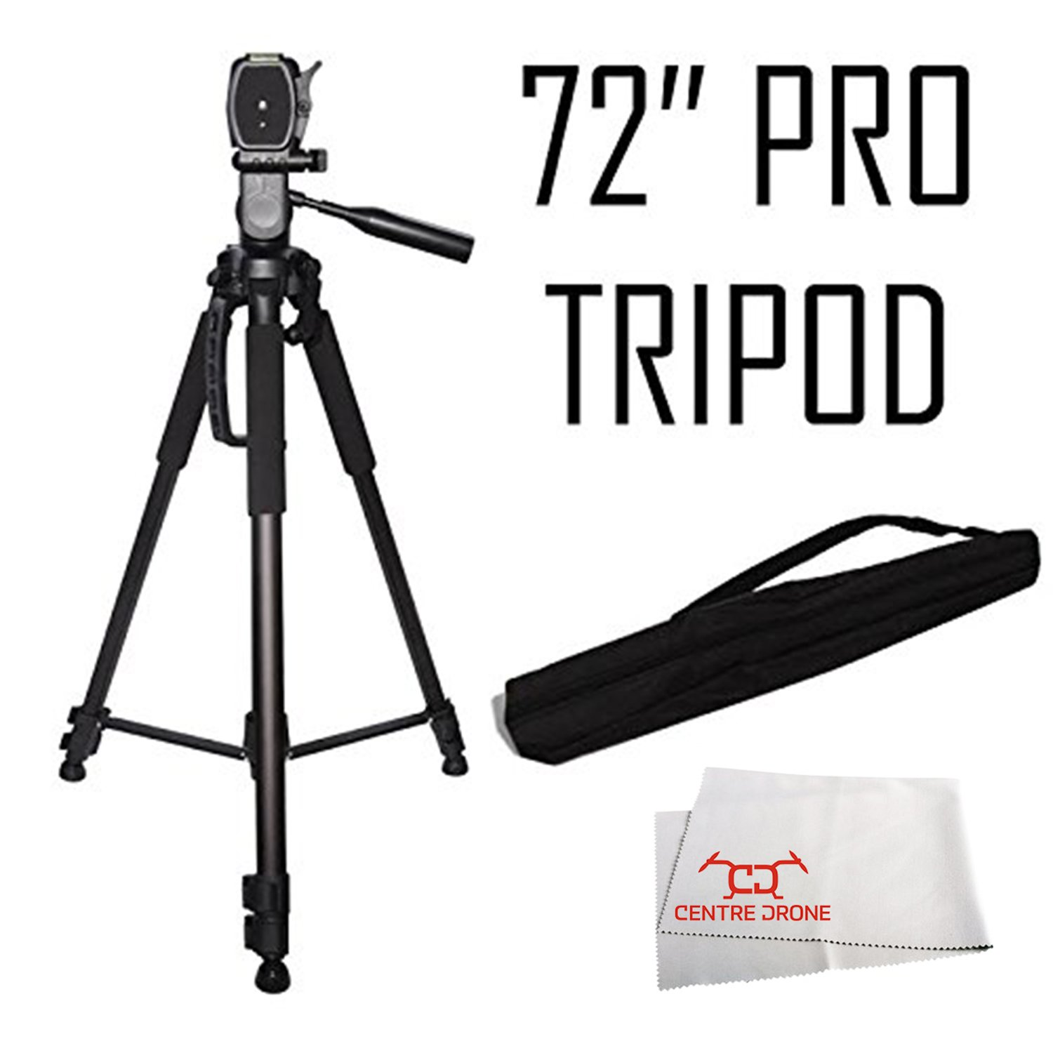 Professional 72-inch Tripod 3-way Panhead Tilt Motion with Built In Bubble Leveling for Nikon Df, D5300, D3300, D3400, D5200, D3200, D3X, D3S, D700, D300S, D7000, D90, D5100, D5000, D3100, D3000, D800, D800E D600 D610 D7100 Digital SLR Camera Digital Camer