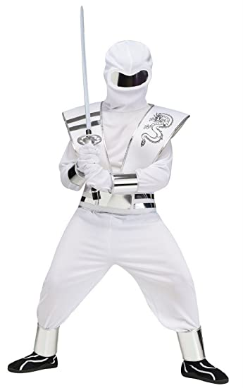 Ninja Kostum Weiss Samurai Karneval Fasching Verkleidung Kinder