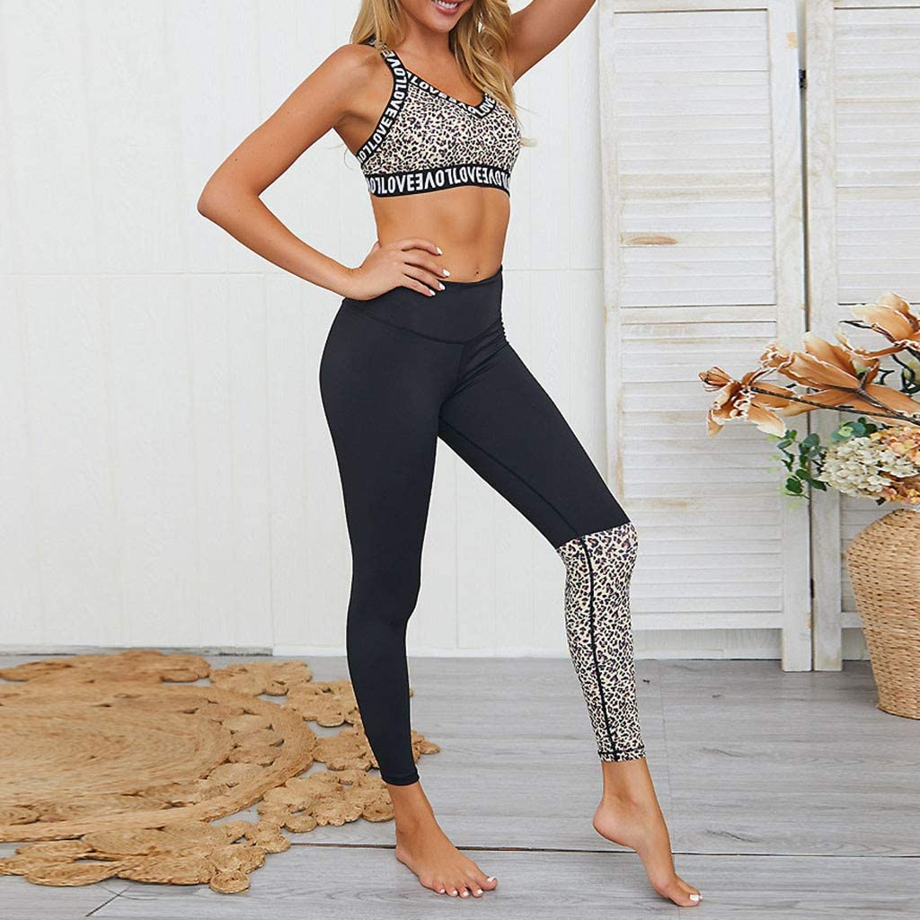 Handyulong Womens Workout Outfits Sets 2 Piece High Waisted Yoga Leggings with Leopard Sports Bra Tracksuit Gym Clothes