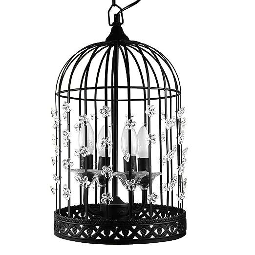 GONGFF decoración Marco de Metal Jaula de pájaros Lámpara de ...
