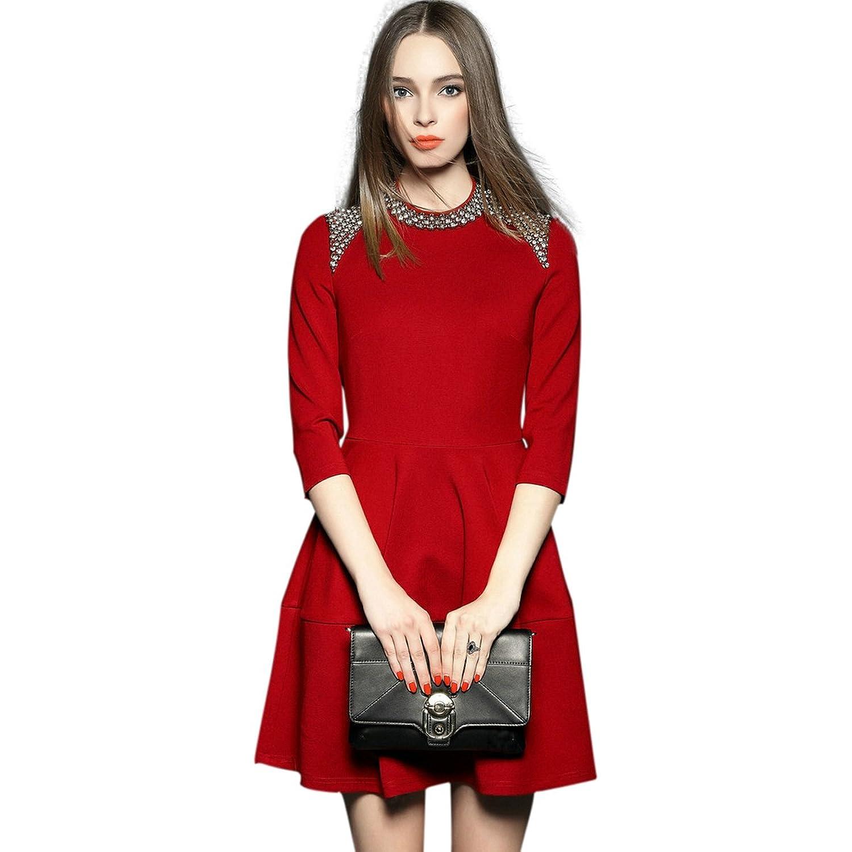 Onlymaker Women's Slim Fit Sexy 3/4 Sleeve Rhinestone Embellished Shoulder A-line Dress