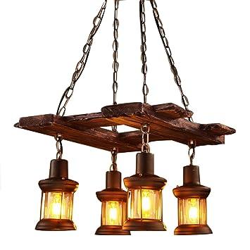 Lámpara colgante de araña de madera y cristal de metal ...