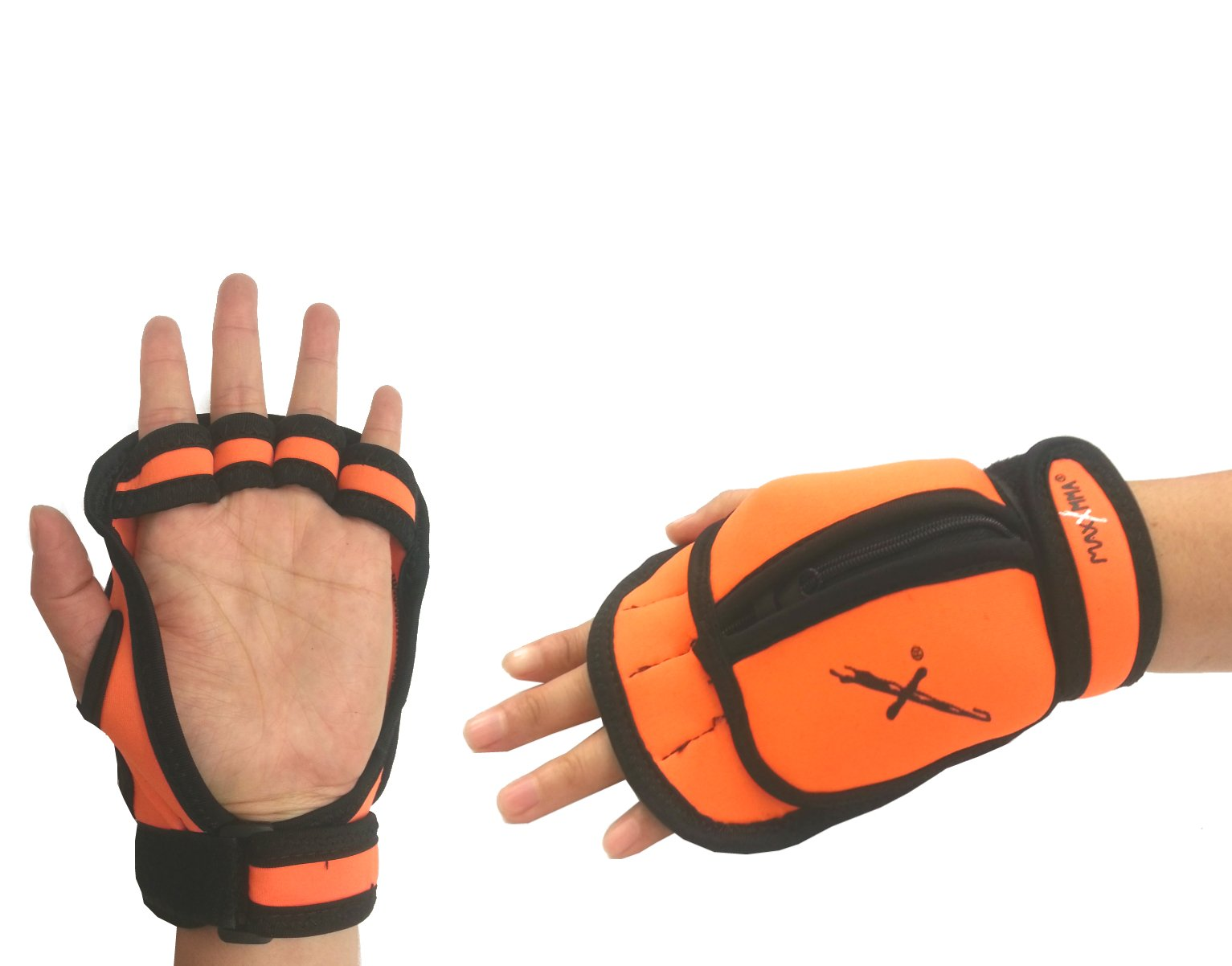 MaxxMMA Adjustable Weighted Gloves - Removable Weight 1 lb. x 2 (Orange)