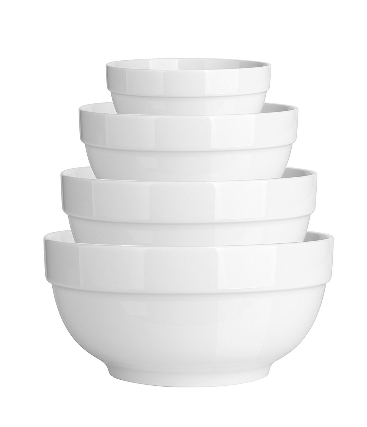 DOWAN Porcelain Mixing/Serving Bowl Set, White Anti-slipping Nesting Bowls Sihai