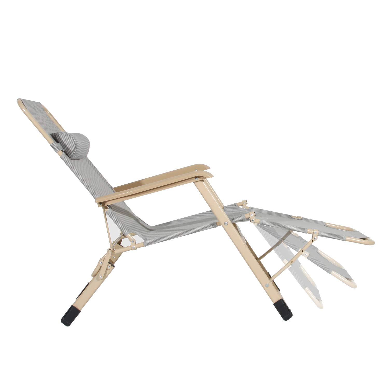 Gris Carga m/áxima 135 kg 178/×66/×25cm DlandHome Tumbonas de Jard/ín Relajante Sillas Plegables de Textilene