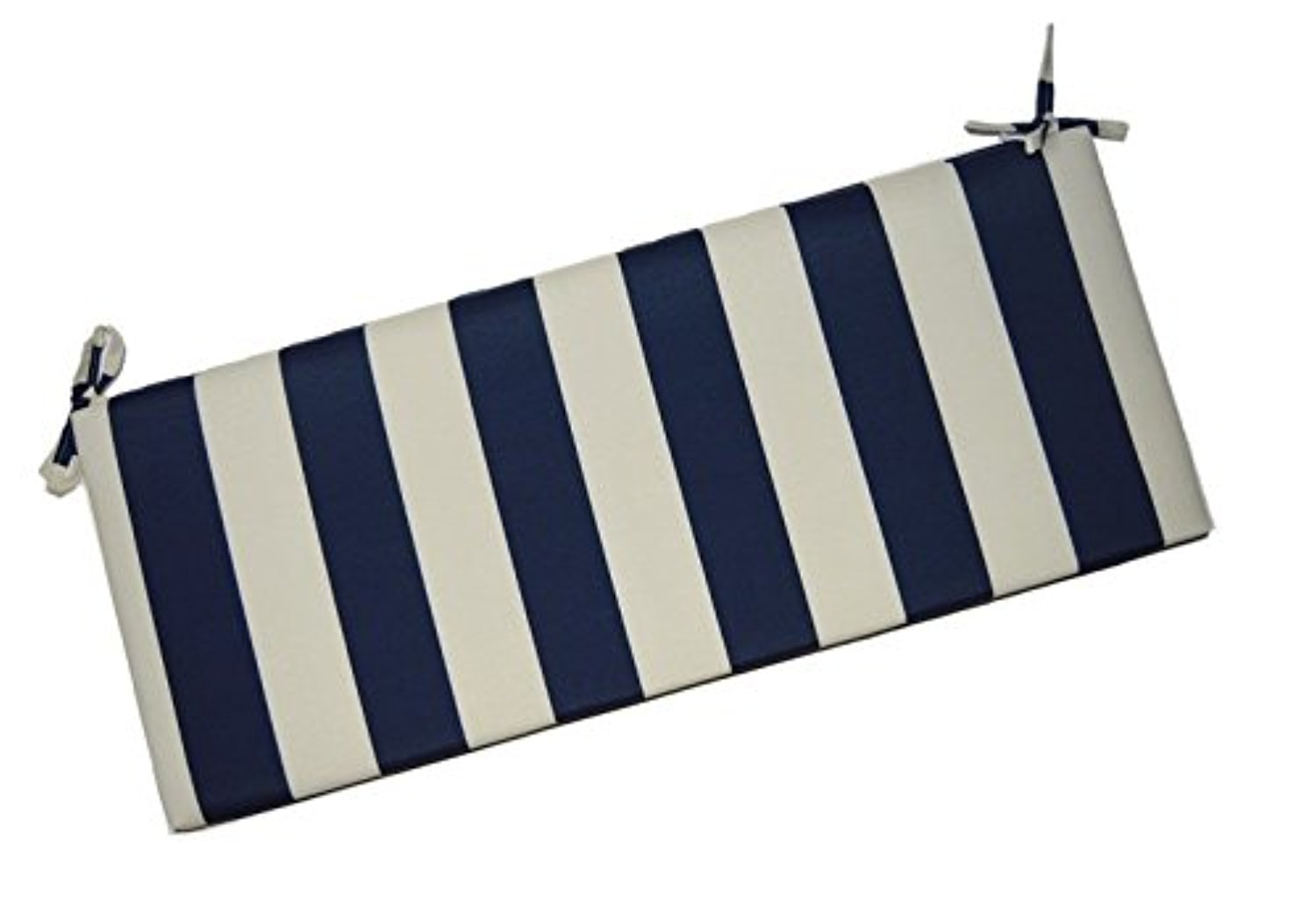 Resort Spa Home Decor Navy Blue and Ivory Stripe 2'' Thick Foam Swing/Bench/Glider Cushion with Ties and Zipper - Choose Size