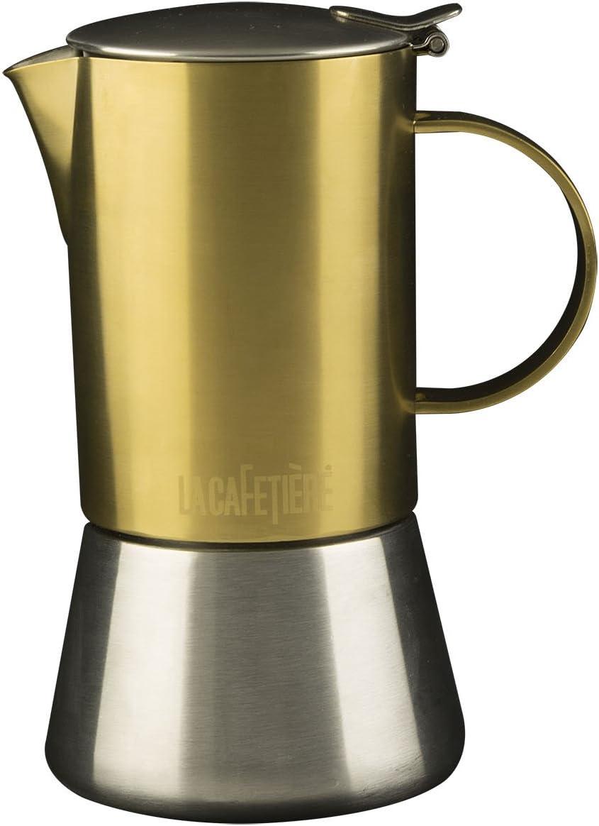 La Cafetierè, Acero Inoxidable, 4 Cup Stovetop, Brushed Gold ...