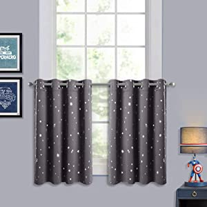 RYB HOME Window Curtain Tiers - Blackout Half Window Drapes Summer Heat Insulation Valances, Privacy Protect Star Panels for Kitchen Nursery, Grey, Width 52 x Length 36 inches Each, 1 Pair